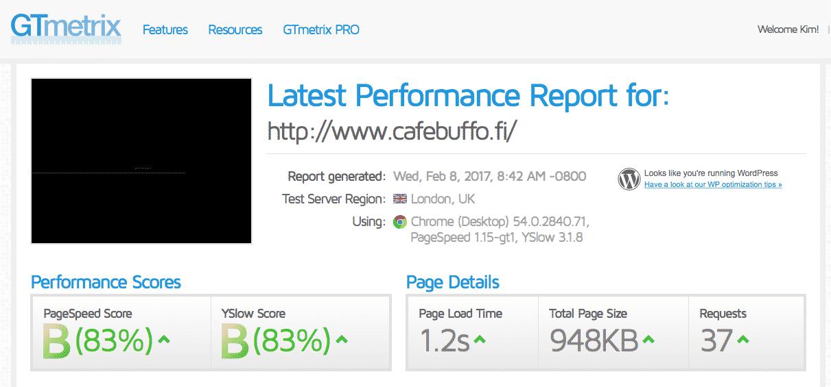 [object object] - cafebuffo wordpress ei optimoitu - Nopeutamme Wordpress sivustojen latausaikaa