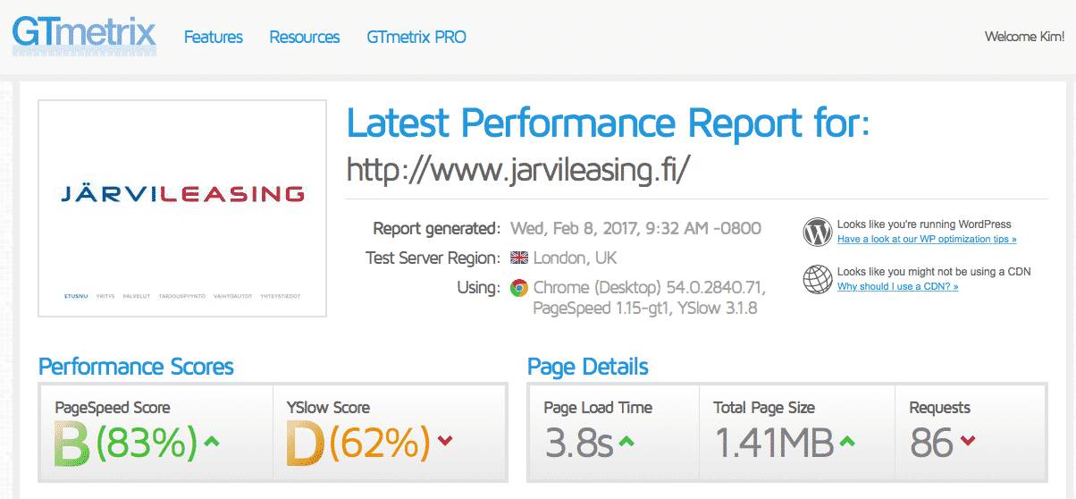 [object object] - jarvileasing wordpress ei optimoitu - Nopeutamme Wordpress sivustojen latausaikaa